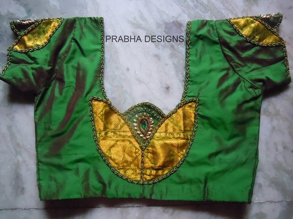 GREEN COLOUR BACK NECK BLOUSE