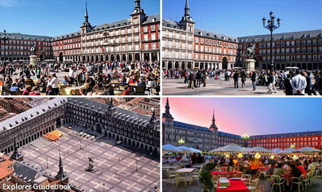 Alun-alun plaza mayor madrid spanyol