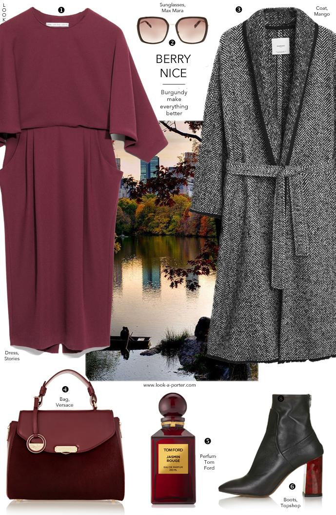Autumn is made for burgundy hues and velvety textures of suede and wool. And here is a visual proof and, as it happens, a whole mix of trends.  via www.look-a-porter.com style & fashion blog