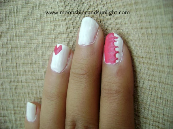 Patched up love nail art