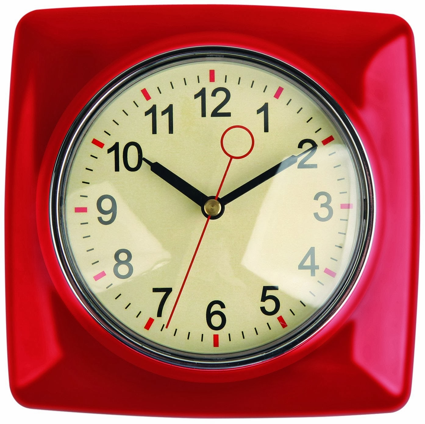Kikkerland Retro Kitchen Wall Clock Red