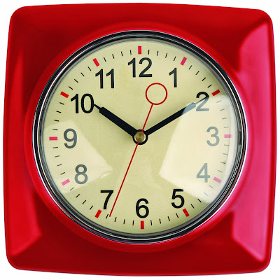 Kikkerland Retro Kitchen Wall Clock, Red