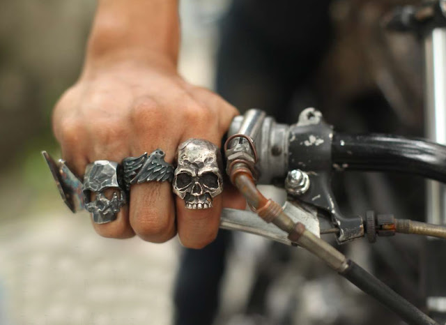 Custom silver skull rings from Manila's 13 lucky monkey