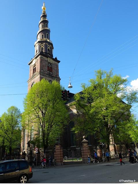 copenhague eglise notre-sauveur Christianshavn clocher spiral, Vor Frelsers Kirke fleche clocher  90metres