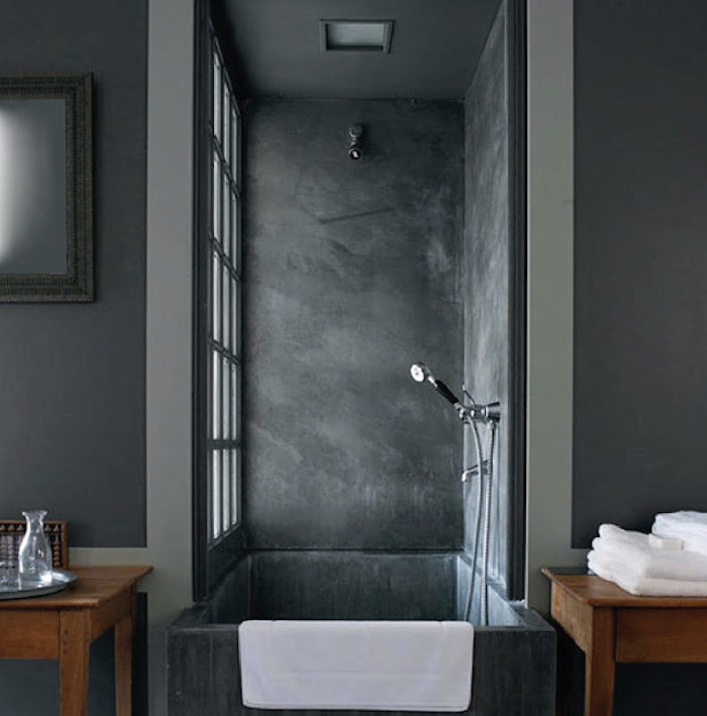 Two fantastic grey & wood bathroom solutions title=