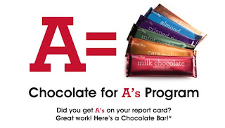 "Free Fannie May Chocolate Bar for ""A"" on Report Card"