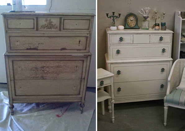 how to paint new furniture to look old