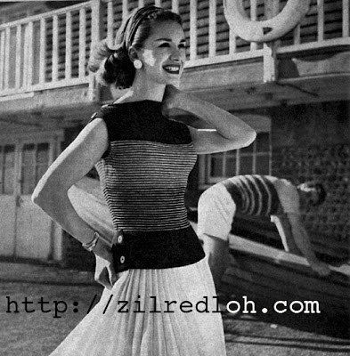 Free 1950's stitchraft Knitting pattern for a lady's Striped Boatneck Jumper