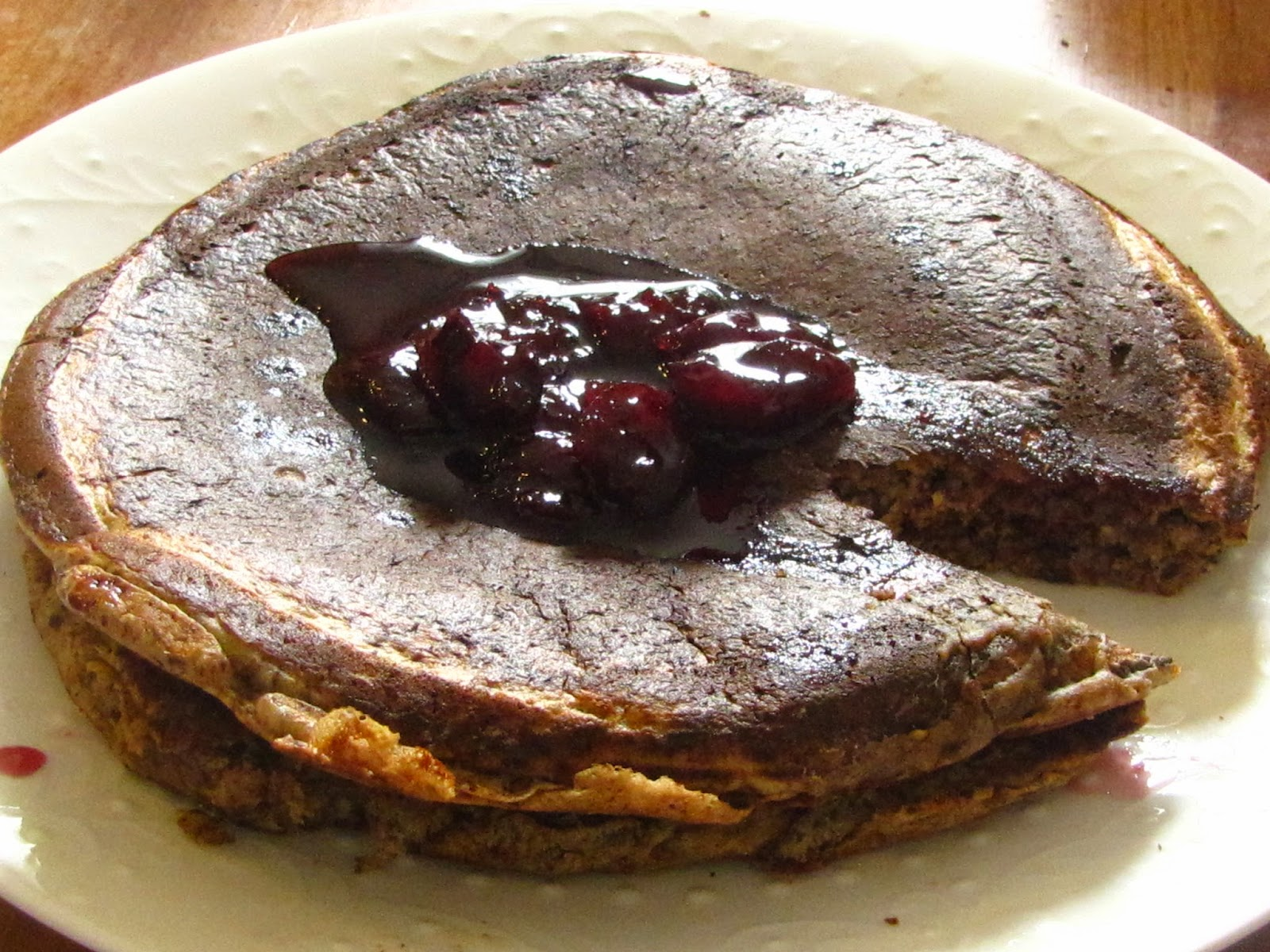 Chocolate Almond Oats Buttermilk Pancake with homemade Cherry Syrup