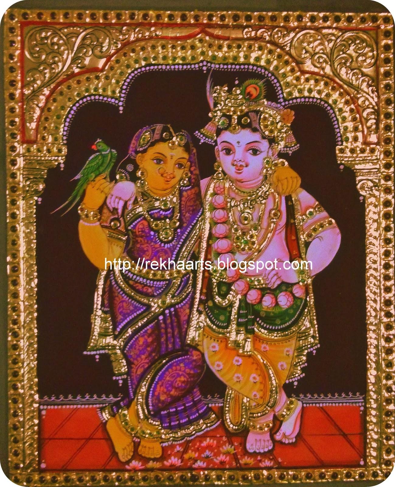 Varnaalaya tanjore painting radha krishna for Mural radha krishna