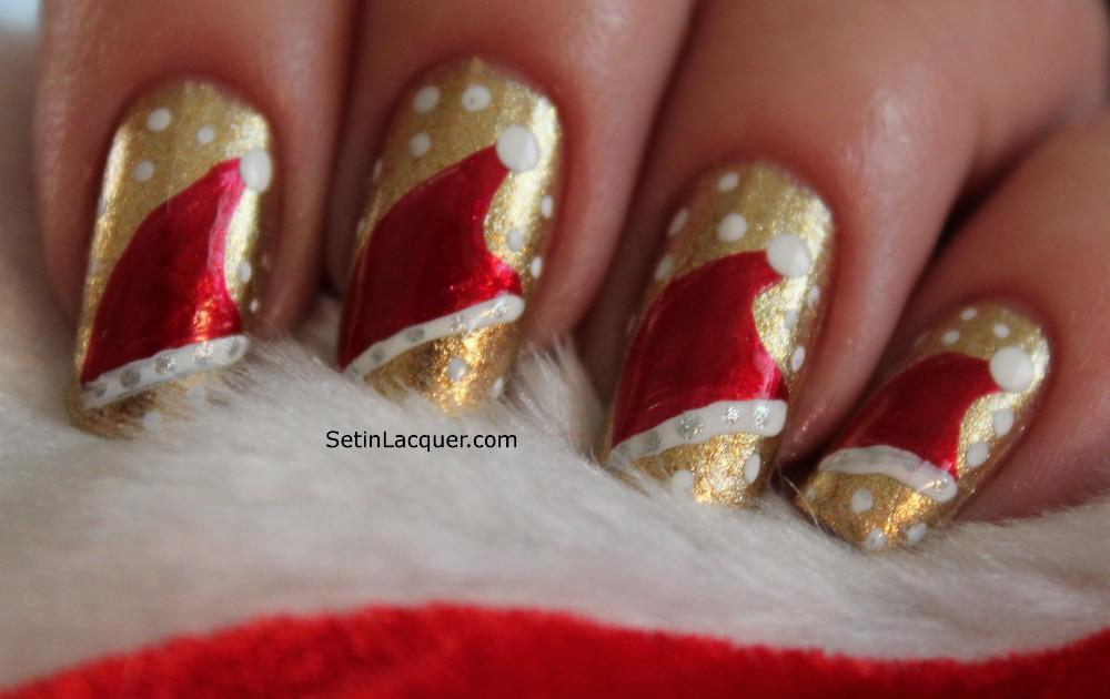 Christmas nail art - Santa's Hat - Santa Hat Nail Art Tutorial - Set In Lacquer
