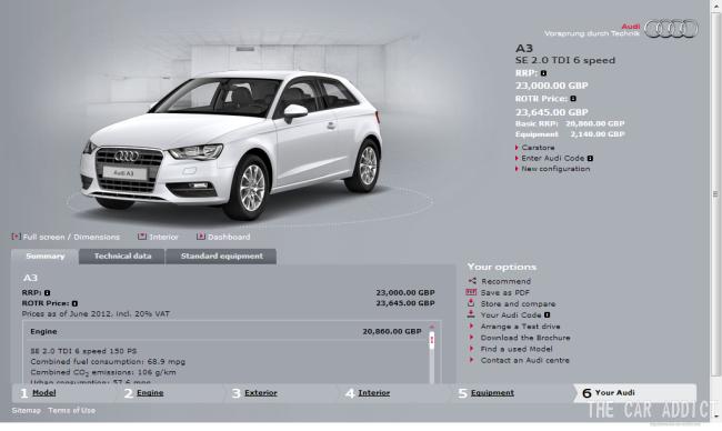 Glacier White Audi A3 2.0 TDI Diesel