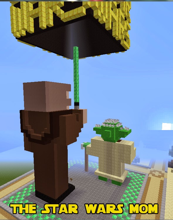 Minecraft Build - Back View of Qui-Gon Jinn and Master Yoda