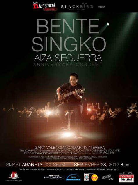 Ticket Prices – Bente Singko Aiza Seguerra Anniversary Concert