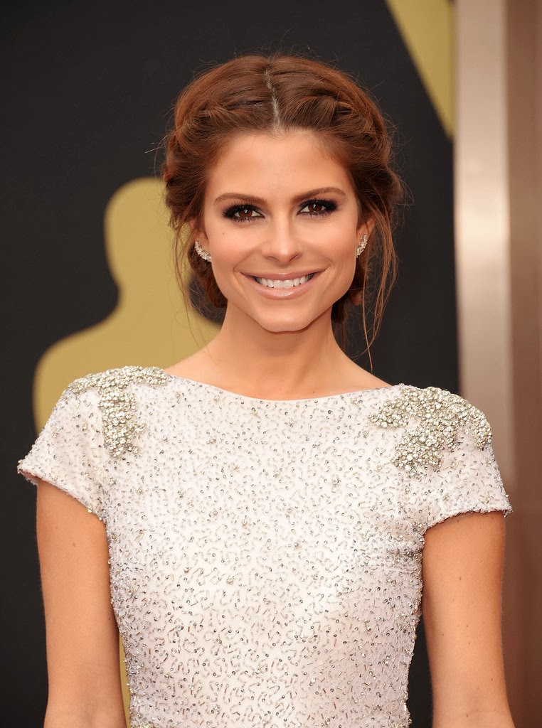 Maria Menounos braided updo on the red carpet at the oscars