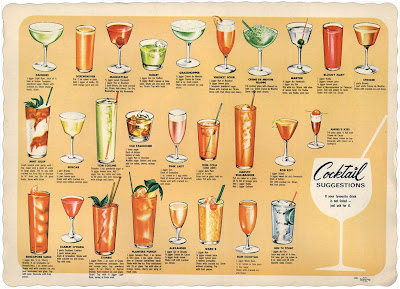 retro cocktail drinks menu