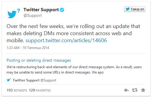 Twitter DM Geliştiriliyor