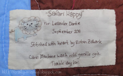 Safari Happy quilt label