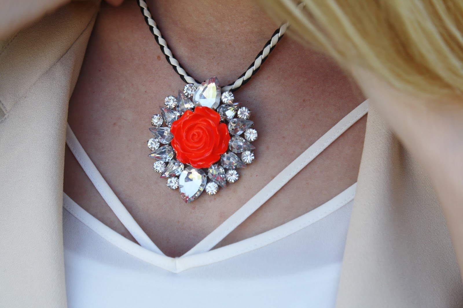 Red and silver statement necklace from Topshop