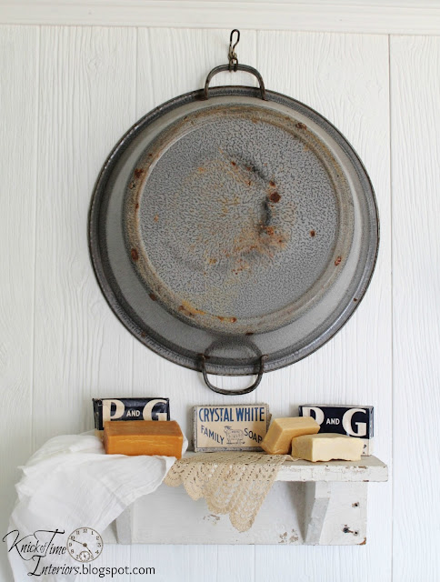 Antique Soap Antique Enamelware Wash Basin Laundry Room Remodel via http://knickoftimeinteriors.blogspot.com/
