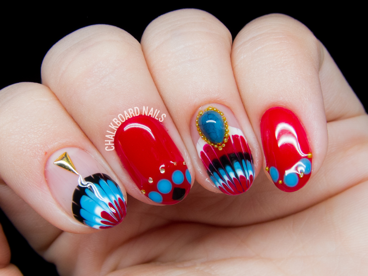 Southwest-inspired gel nail art by @chalkboardnails