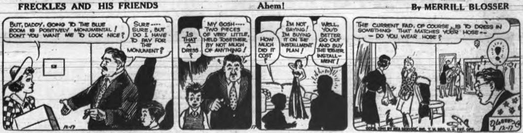 Image of the comic strip Freckles and Friends in which a girl's father is horrified by her expensive and skimpy gown.