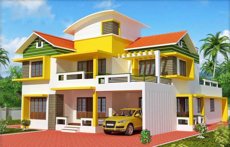 Struktur rumah mewah yang di desain dengan profesional Indian house color combinations