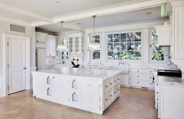 white kitchen carrara marble counters island mansion large home