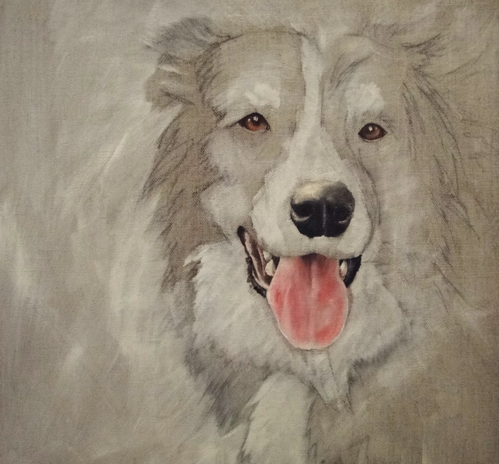 2nd stage of a border collie oil painting, border collie face