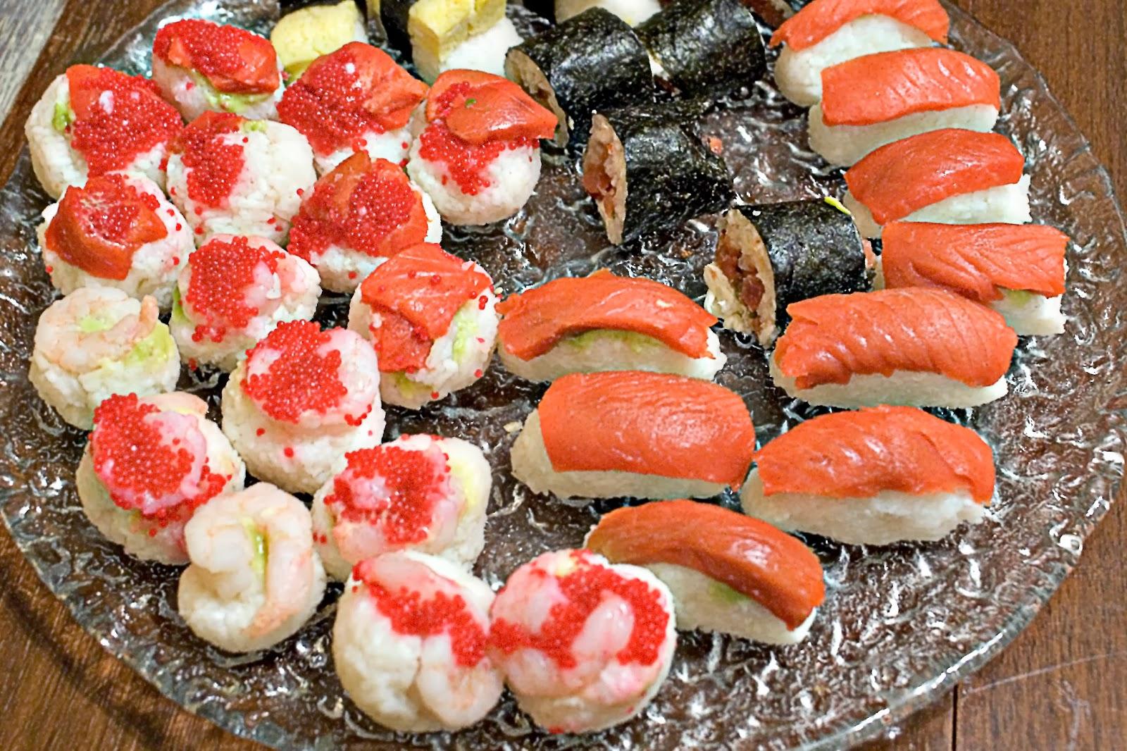 Sashimi and sushi rolls