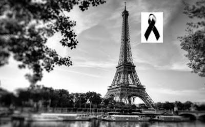 Imagem da Torre Eiffel de luto