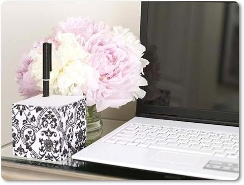 blommor och dator, rosa pioner