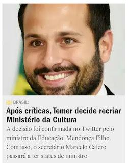 MINISTÉRIO DA CULTURA VAI SER RECRIADO
