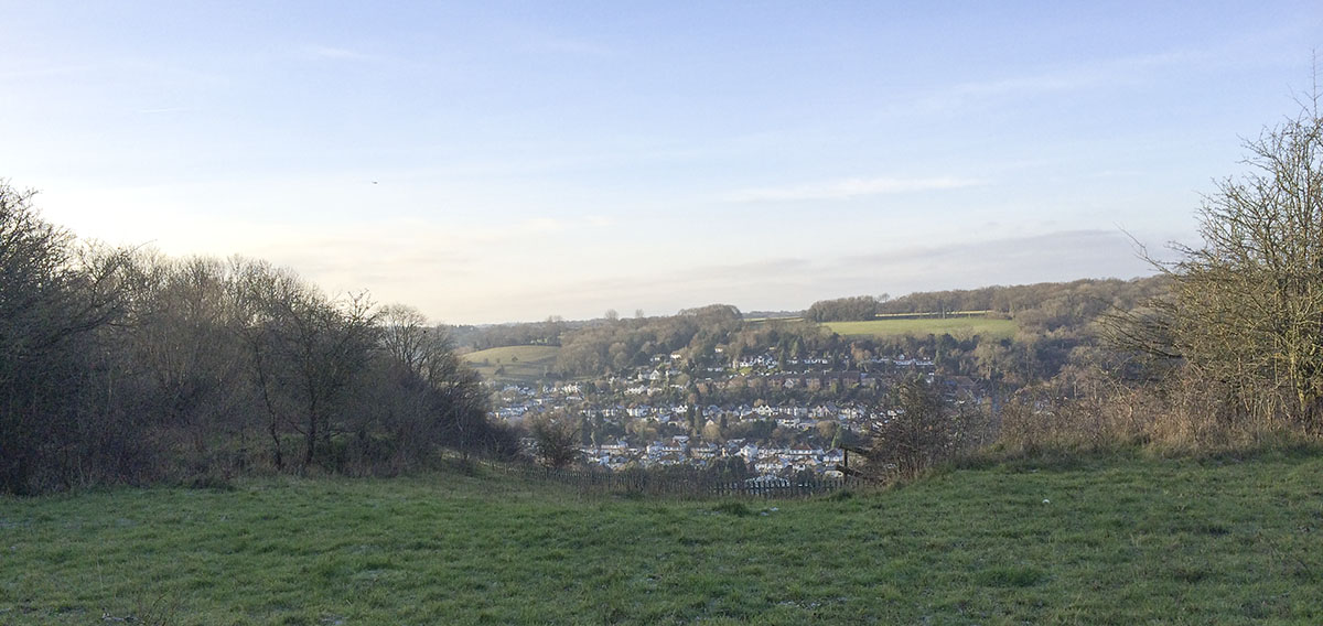 Whyteleafe from the top of the quarry.  Riddlesdown, 12 January 2014.