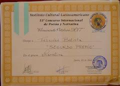 SEGUNDO PREMIO 55º CONCURSO INTERNACIONAL POESÍA Y NARRATIVA. ARGENTINA