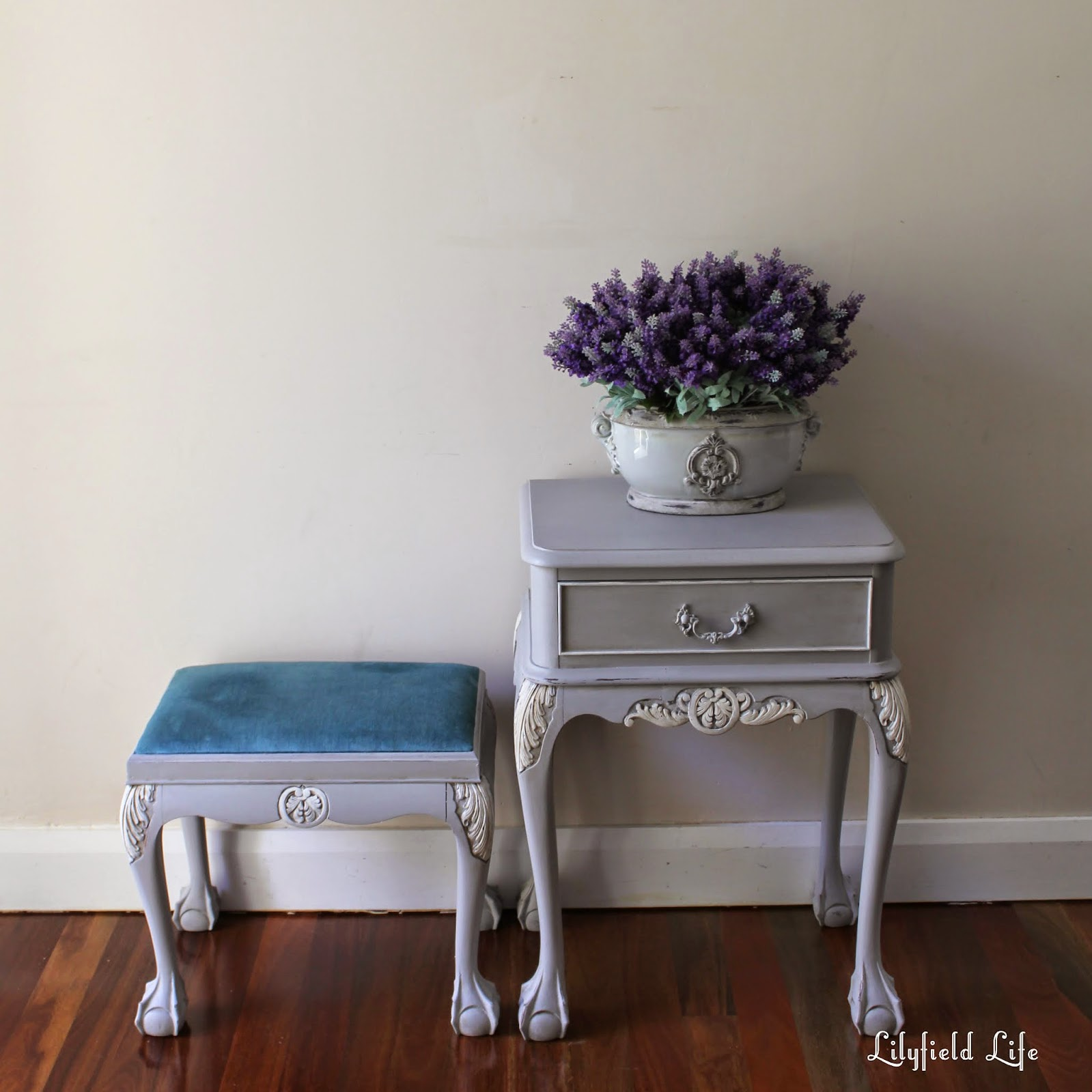 french bedroom table and side table. hand painted in Sydney by Lilyfield Life