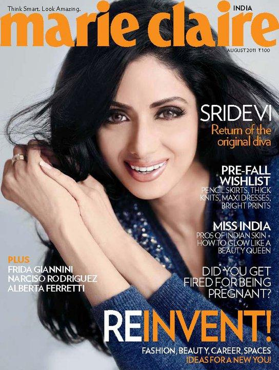 , Sridevi On Marie Claire Magazine Cover August 2011 Edition