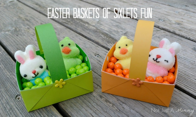 Easter paper baskets filled with Sixlets