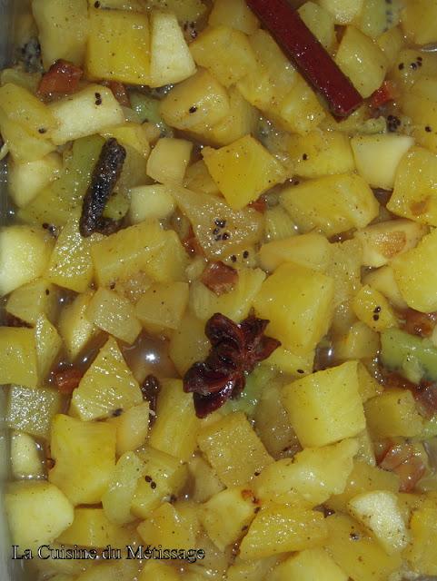 fruits au sirop d'épices