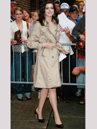 Anne Hathaway in trench coat