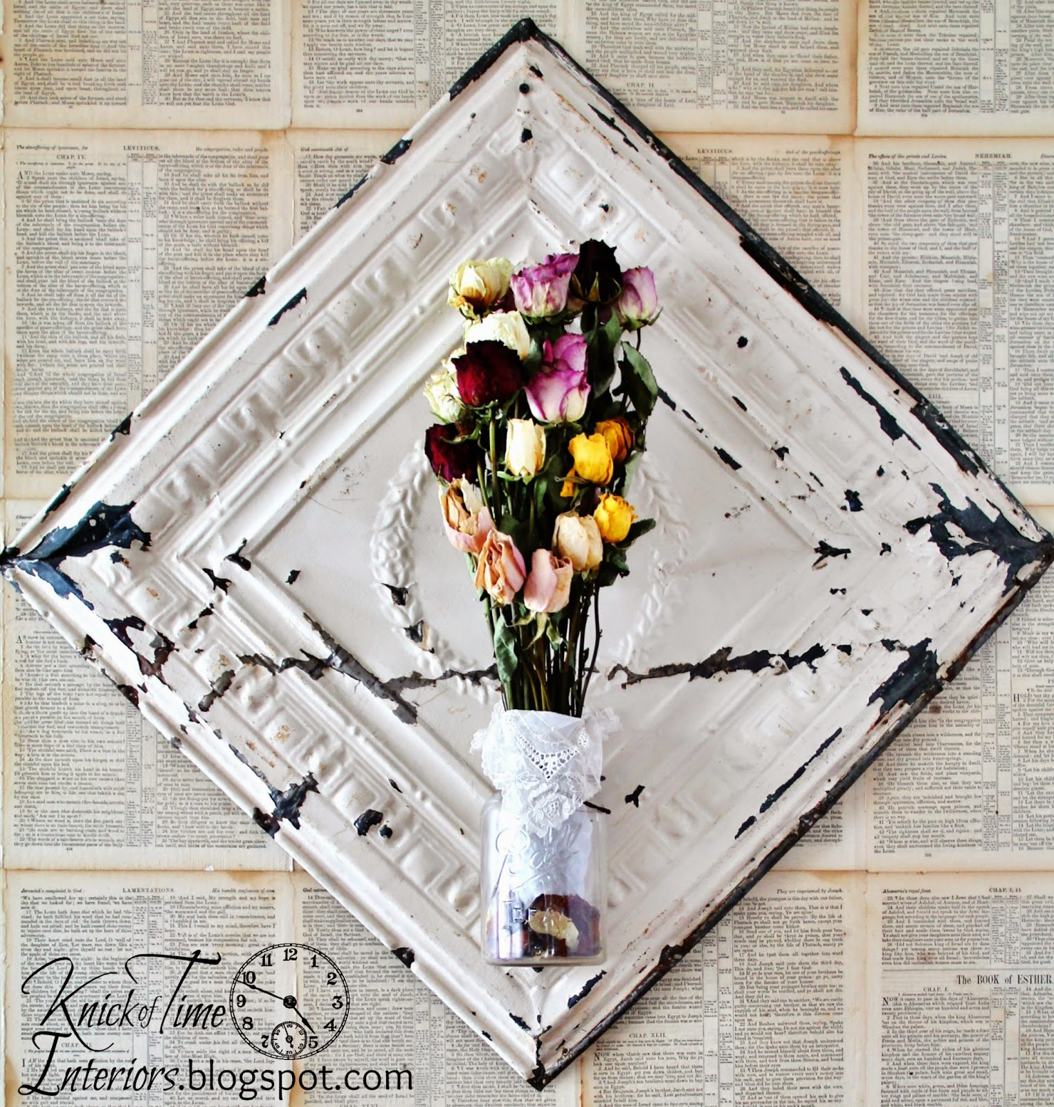 Repurposed Ball Jar Antique Ceiling Tile as Wall Flower Vase Display via Knick of Time
