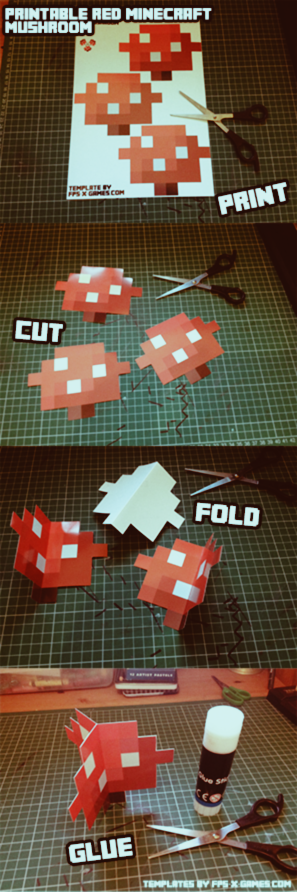 Minecraft mushroom, print, cutout, fold and glue