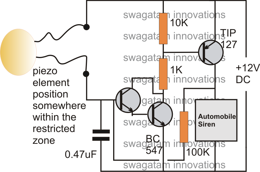 simple burglar alarm circuits electronic circuit projects if an intruder tries to break in the door would be disturbed instantly activating the connected piezo sensor and the preceding alarm circuit