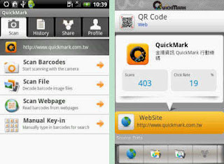 QuickMark Barcode Scanner free app: Android Interface