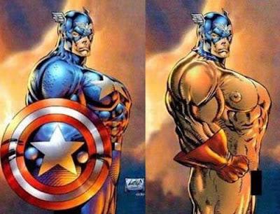 Dibujo del Capitán América desproporcionado por Rob Liefeld