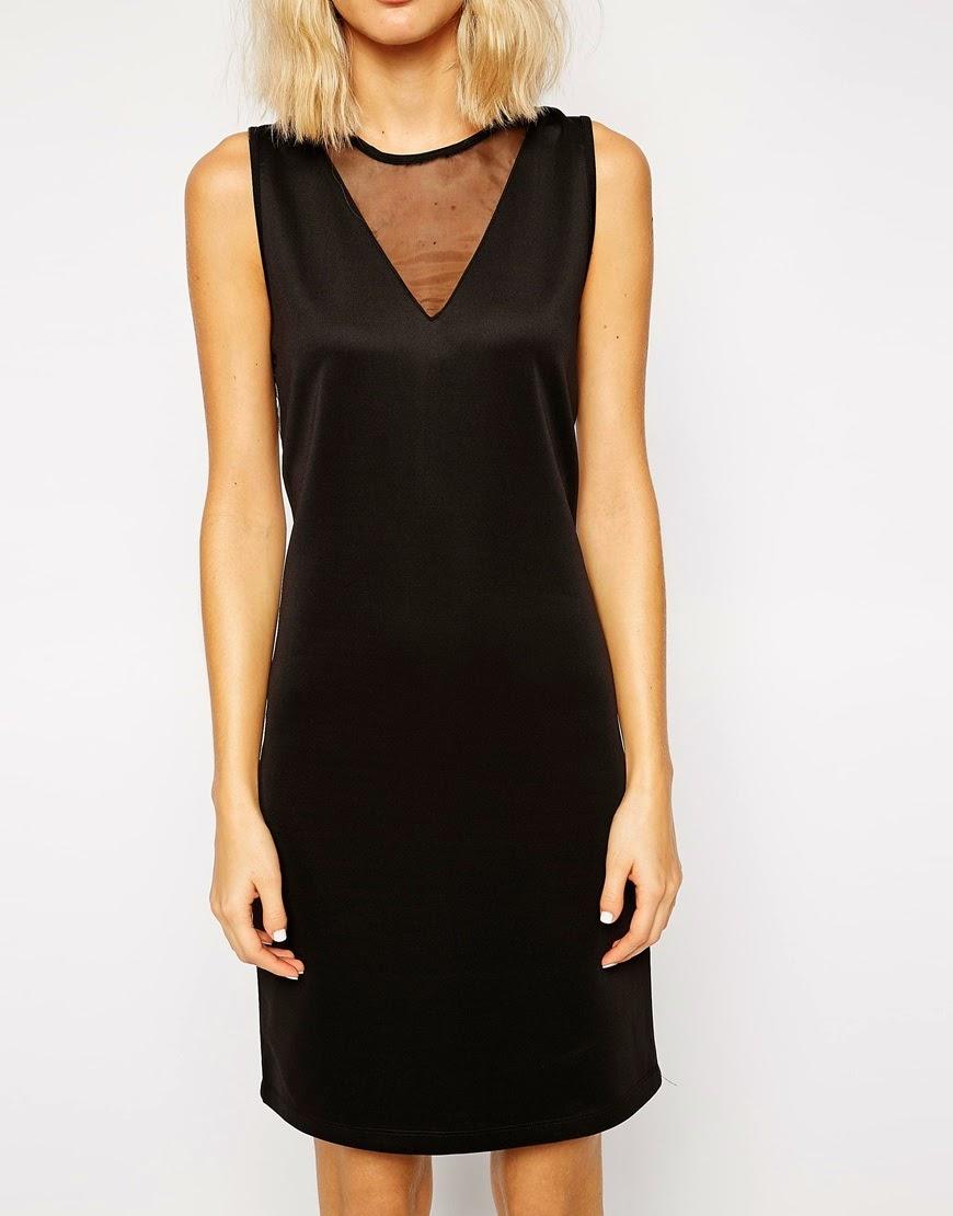 v neck black satin dress