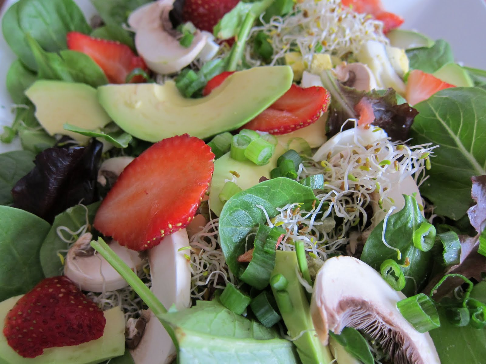 Mixed Greens, Avocado, Sprouts, Mushrooms, and Strawberries
