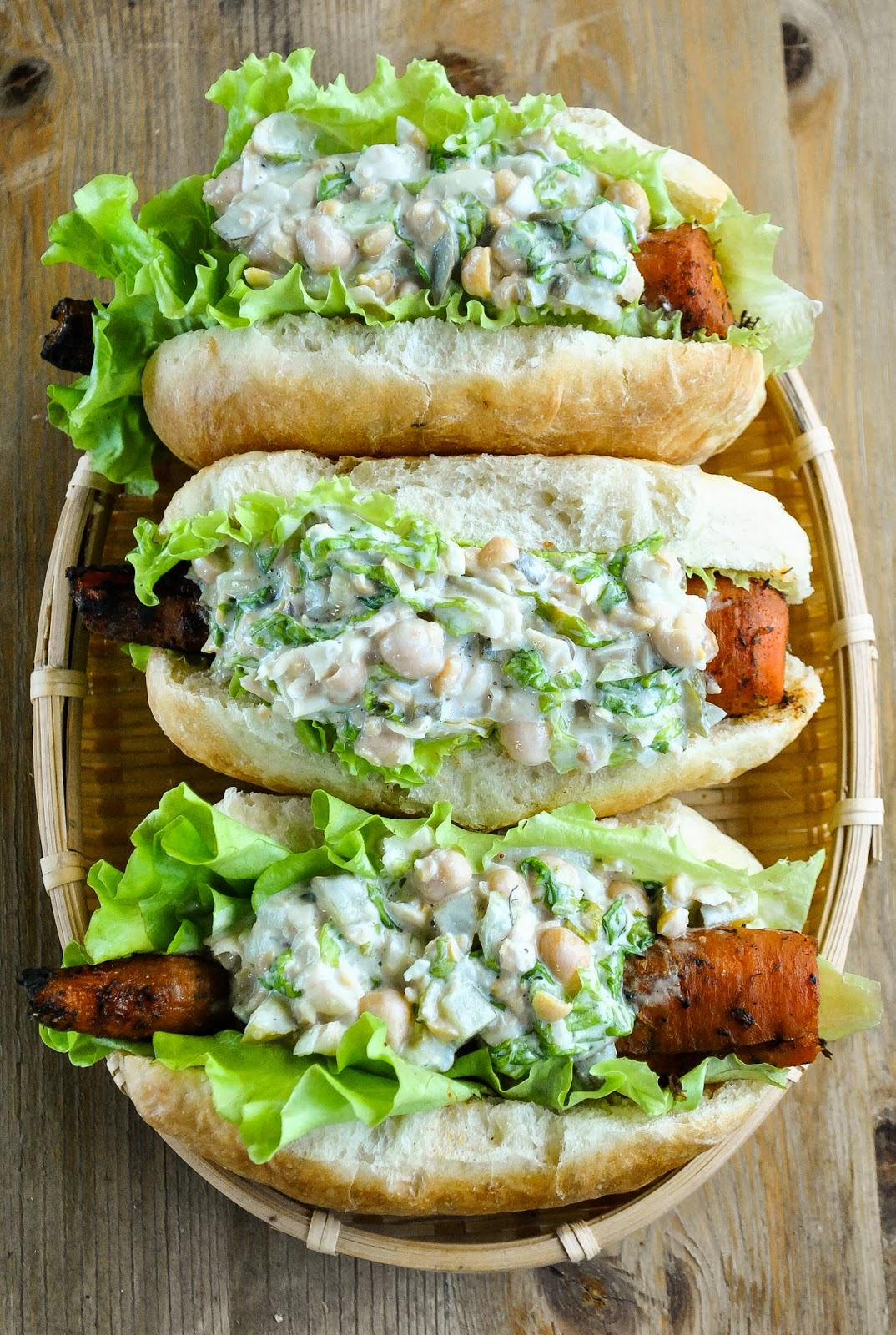 Smoky barbecue carrot hot dogs with creamy chickpea salad for Bar food vegetarian