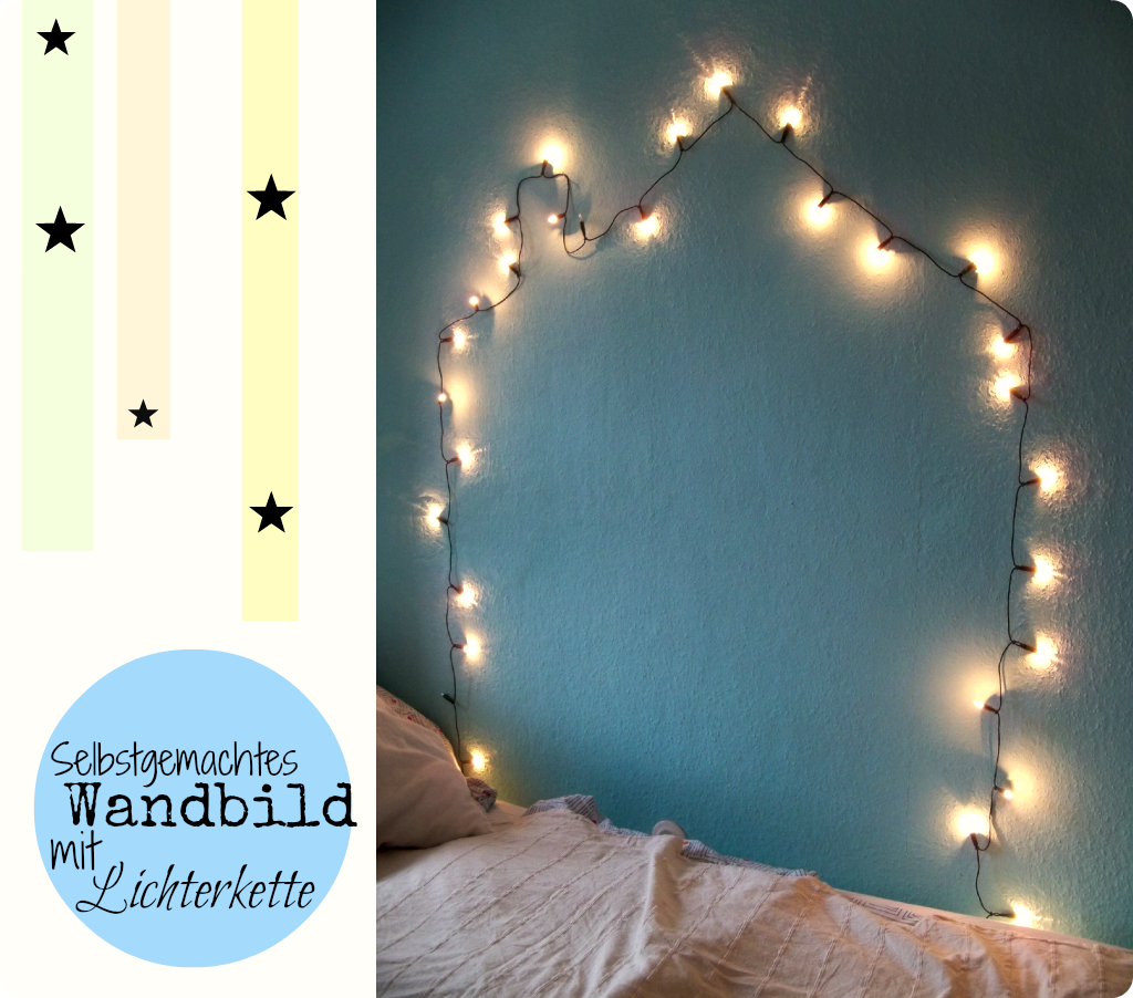 Mrs kings castle schlafzimmer make over teil ii selbstgemachtes wandbild mit lichterkette - Wand lichterkette ...