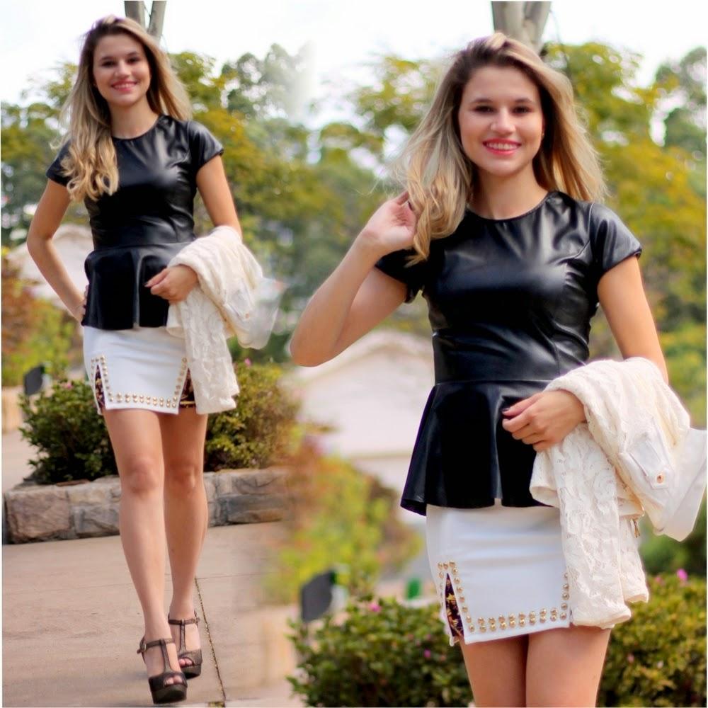 Saia branca fenda - blusa peplum couro - jaqueta branca de renda